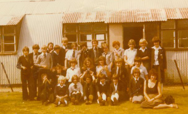 At Wymondham College, in front of a Nissen hut - can you find me in this one?